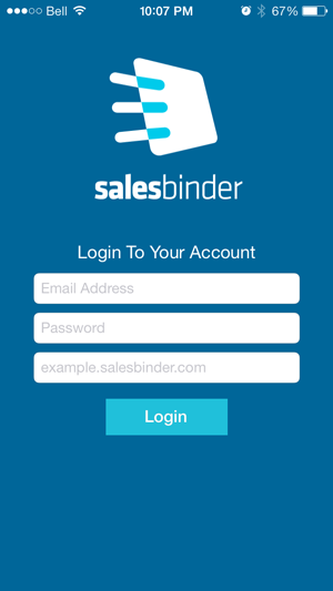 SalesBinder - Knowledge Base » Logging into our iOS App